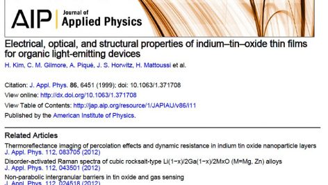 Electrical,optical&structural properties of indium tin oxide