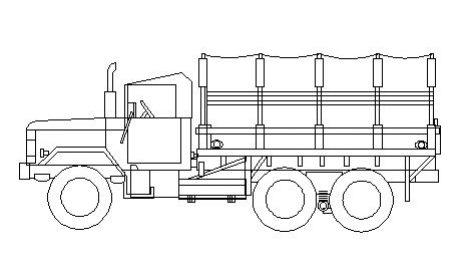 دانلود بلوک اتوکد کامیون از سه نما | آبجکت اتوکد دو بعدی